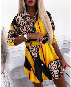 Autumn Women Elegant Casual Lace Print Shirt Mini Dress Long Sleeve Turn-down Collar Button Belt Mini Dress Office Lady Clothes