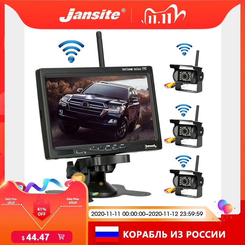 Jansite Wireless Truck Camera 7 inch For Trucks Bus RV Trailer Excavator Car Monitor Reverse Image 12V-24V Rear View Camera