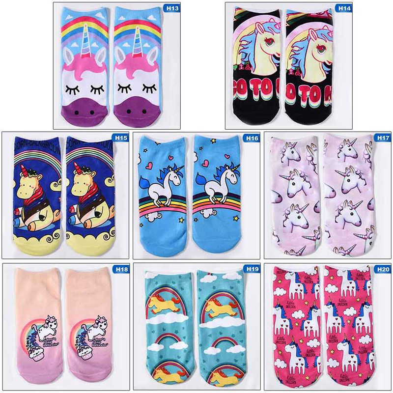 1 Pair!!! New Style 3D Print Unicorn Socks Children Kawaii Lucky Unicorn Cute Socks