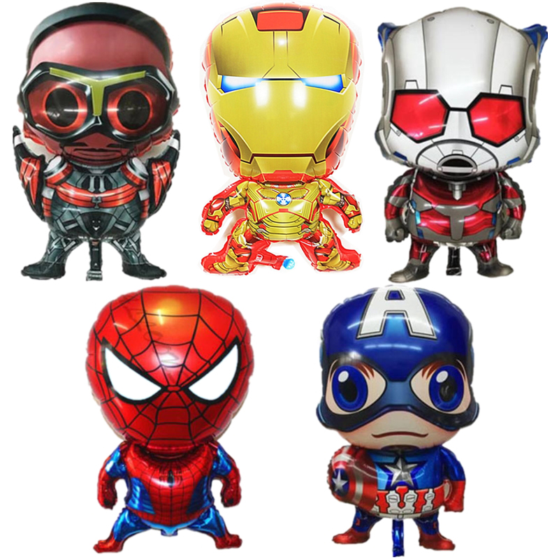 1pc Super Hero Iron Man Spiderman Aluminium Foil Ballons Birthday Party Decoration Kids Kid's Party Gift Captain America Toy
