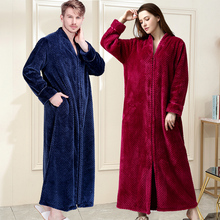 ผู้หญิงฤดูหนาวยาวพิเศษหนา Robe Plus ขนาดซิป Luxury Flannel Peignoir ตั้งครรภ์เสื้อคลุมอาบน้ำผู้ชายปะการังขนแกะ