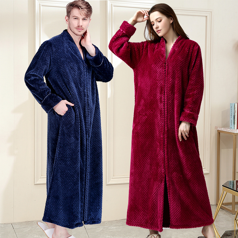 Women Winter Extra Long Thick Warm Bath Robe Plus Size Zipper Luxury Flannel Peignoir Pregnant Bathrobe Men Coral Fleece Robes