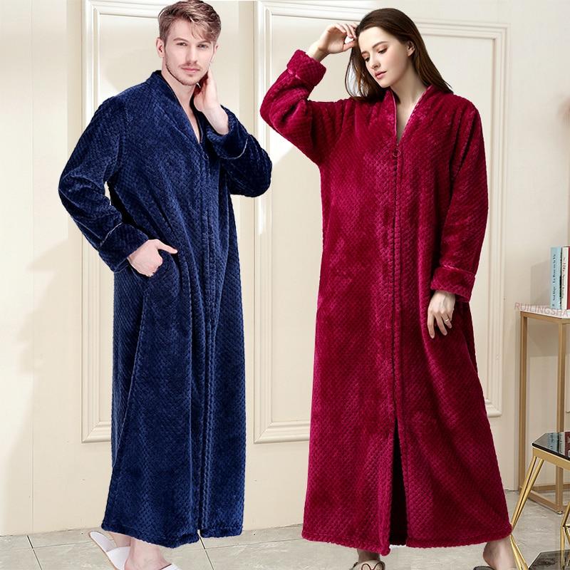 Women Winter Extra Long Thick Warm Bath Robe Plus Size Zipper Luxury Flannel Peignoir Pregnant Bathrobe Men Coral Fleece Robes-in Robes from Underwear & Sleepwears on AliExpress