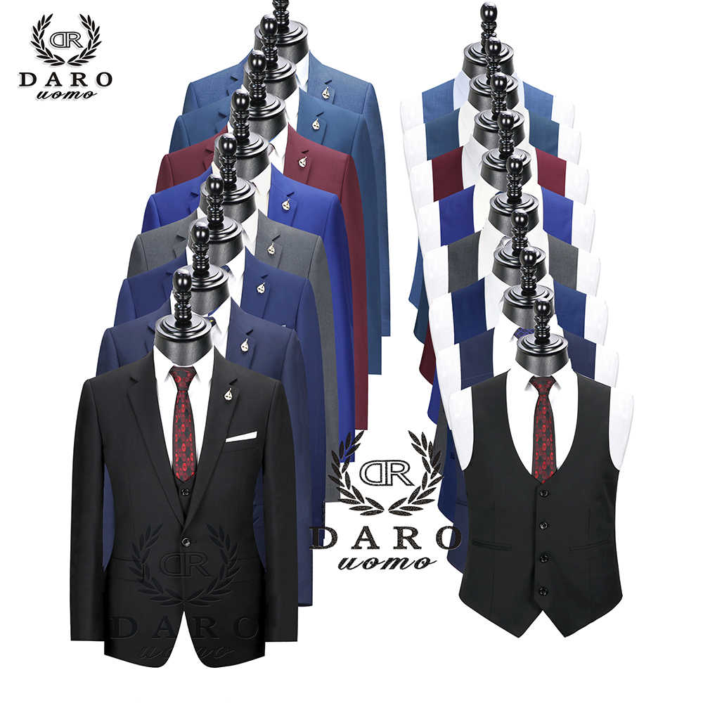 2020 Daro Mannen Suits Slim Fit Jas Broek Vest Voor Business Werk En Wieden Dragen 3Pcs Set DR6158