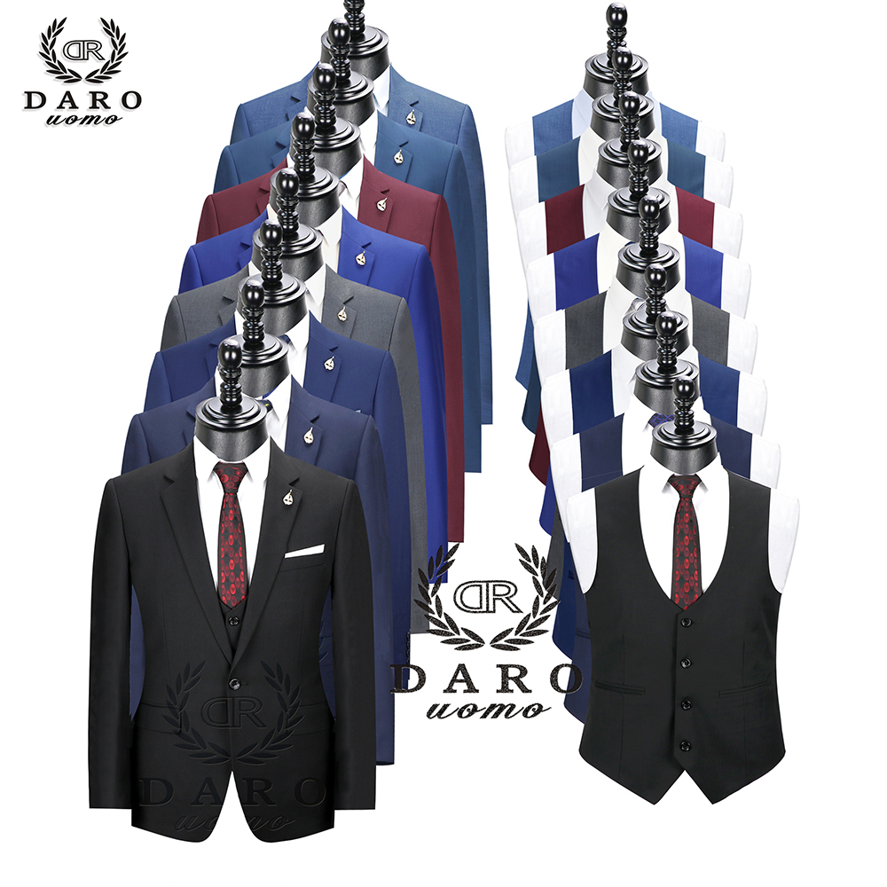 2019 DARO Men Suits  Slim Fit Jacket Pants Vest For Business Work And Weeding Wear  3Pcs Set DR6158