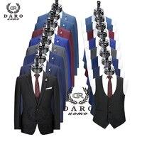2020 DARO Men Suits Slim Fit Jacket pants vest for Business Work and weeding Wear 3Pcs Set DR6158