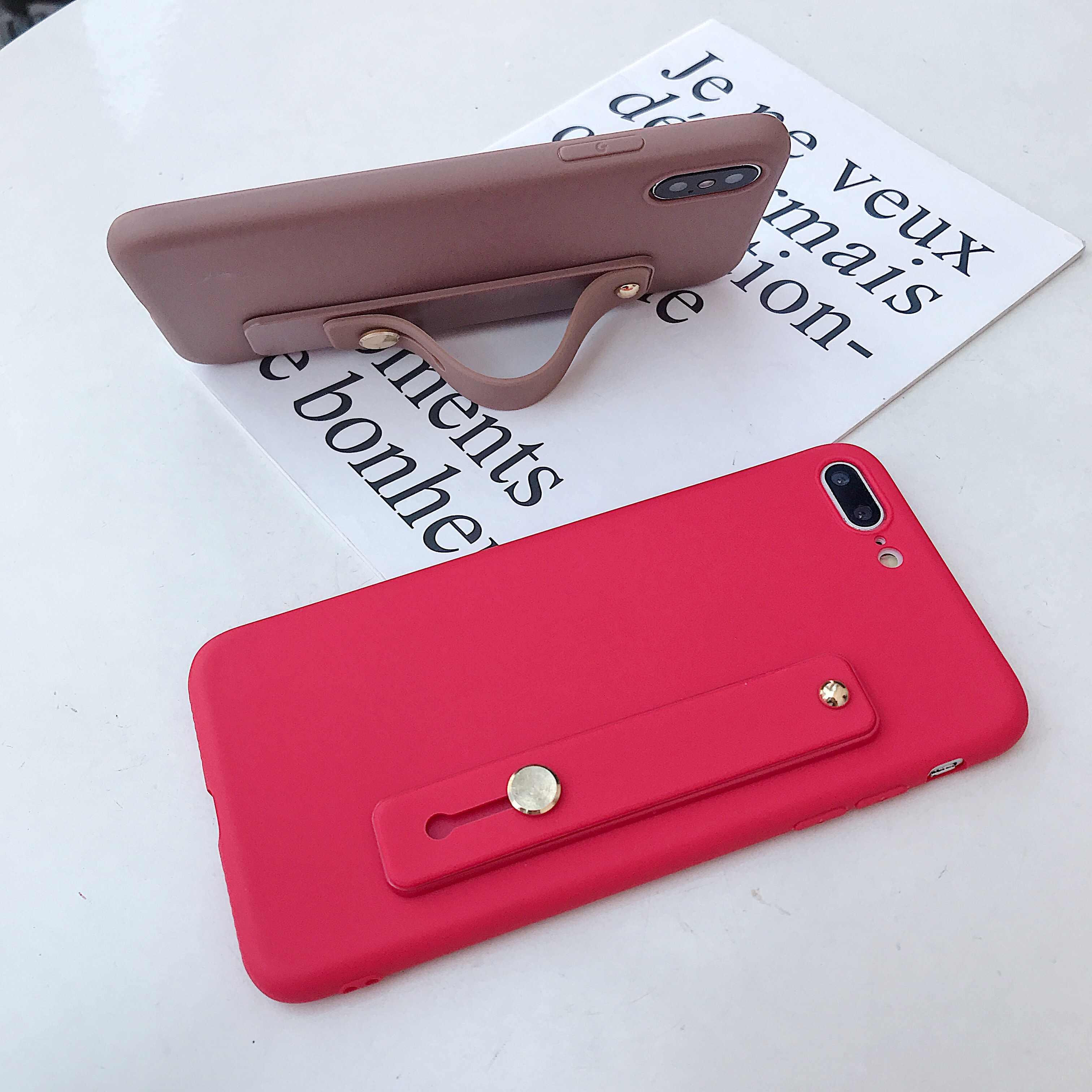 Candy Farbe Handgelenk Strap Halterung Weiche Telefon Fall Für iphone X XR XS MAX 6S 7 8 Plus 11 für samsung S8 S9 S10 e S20 Note10 Lite +