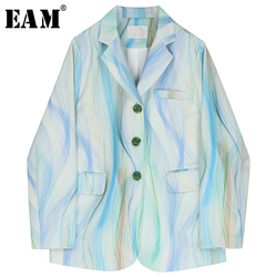[EAM]  Women Blue Print Temperament Short Blazer New Lapel Long Sleeve Loose Fit  Jacket Fashion Tide Spring Autumn 2020 1R313