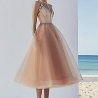 New Dress Halter Champagne Short Prom Sexy Gauze Dresses High Quality Tea Length A Line Organza Girls Cheap Plus Size