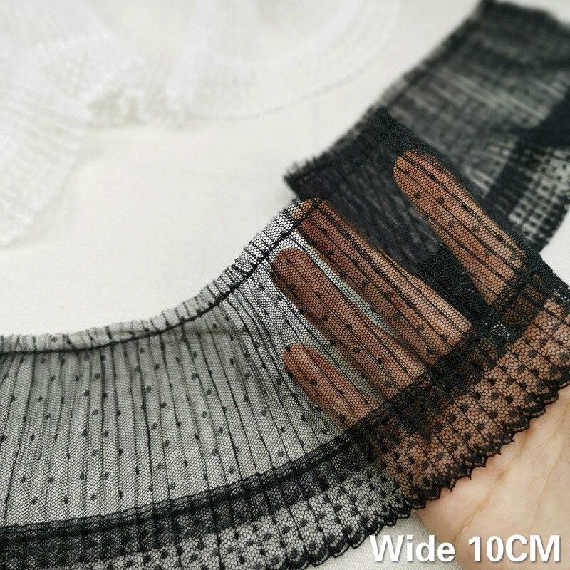 Роскошный кружевной Плиссированный Воротник с оборками, 10 см, ширина: белый, черный, с волнистыми точками, эластичная лента, отделка воротни...