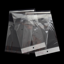 15.5x47cm Clear OPP Plastic Wig Packaging Bag Self Adhesive Transparent Poly Bag with Hang Hola 100 pieces
