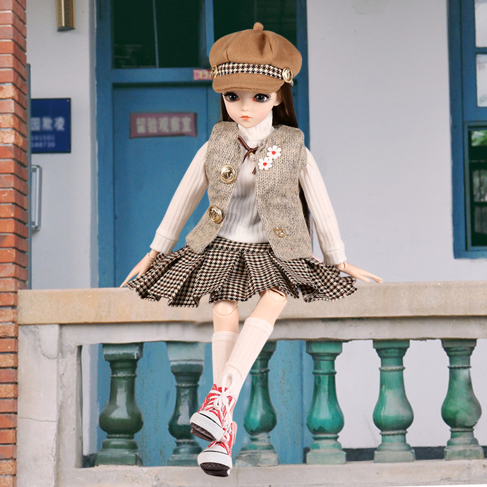 60cm BJD Doll 1//3 Ball Jointed Girl Face Makeup Wig Dress Clothes Eyes Changed