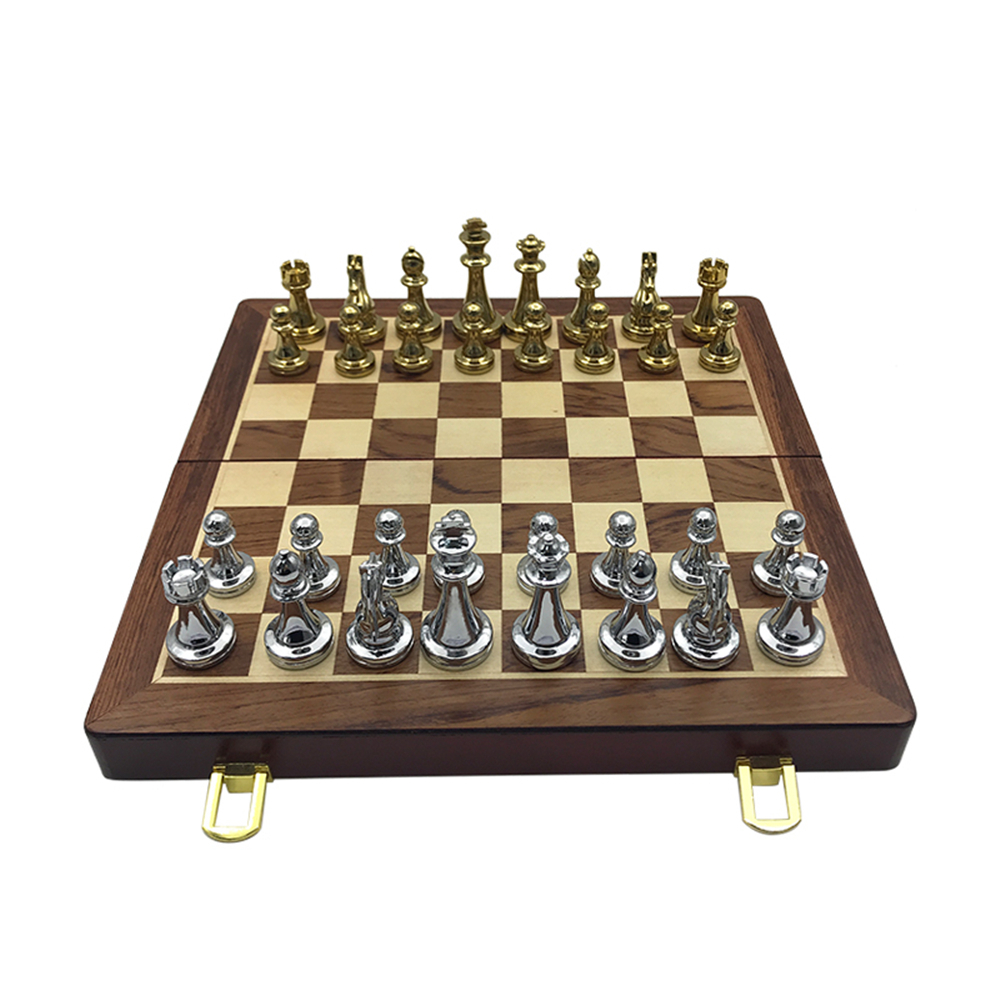Chess Games Set Metal Glossy Golden And Silver Chess Pieces Solid Wooden Folding Chess Board High Grade Professional Gift