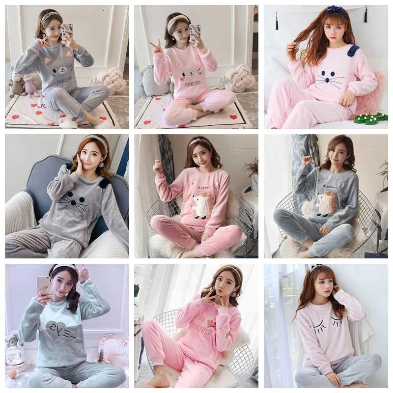 Kış pijama kadın pijama seti karikatür hayvan baskı sonbahar Pijamas kadınlar pijama Femme kadınlar için pijama gecelikler pijama takımı