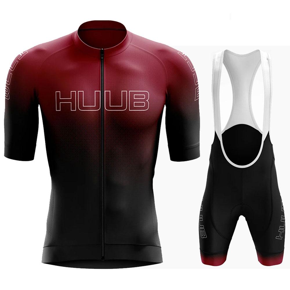 Huub 2020 Man's Summer Short Sleeve Cycling Jersey Set Bib Pants Ropa Ciclismo Hombre Bicycle Clothing MTB Bike Jersey Uniform