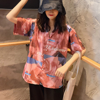 Women Summer Retro Casual Blouse Top Cartoon Print Short Sleeve Blouses Shirts Female Street Wear Chiffon Shirt фото