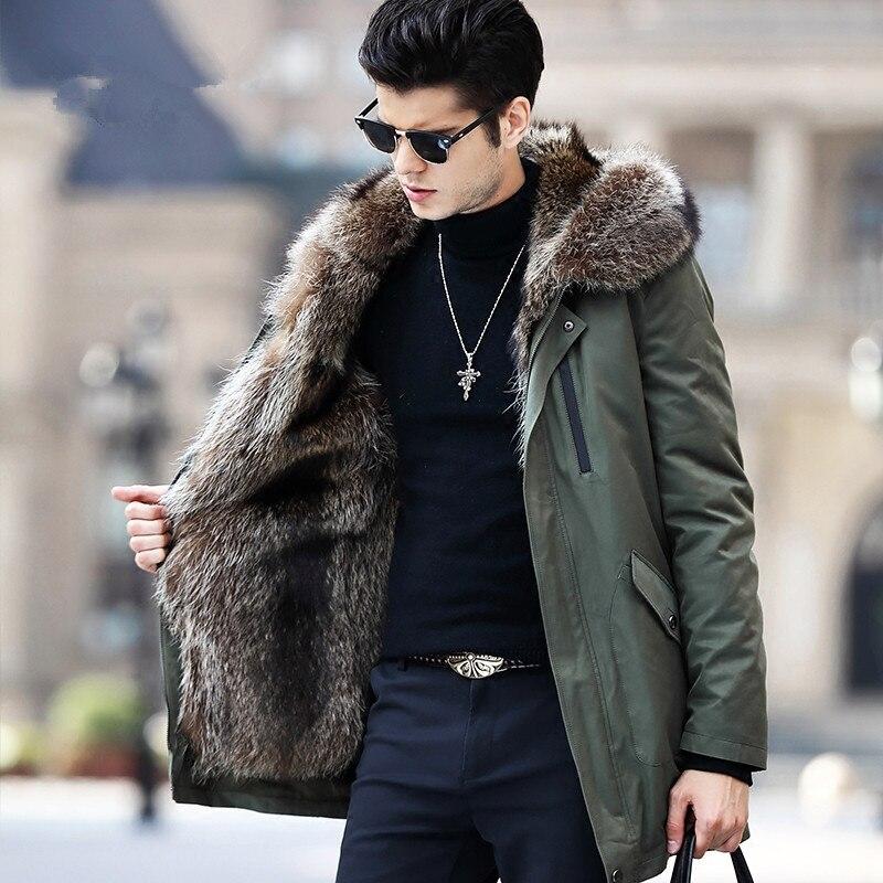 Real Fur Coat Men Parka Winter Jacket Natural Raccoon Fur Liner Long Warm Coat Hooded Parkas Hombre Outerwear 91716
