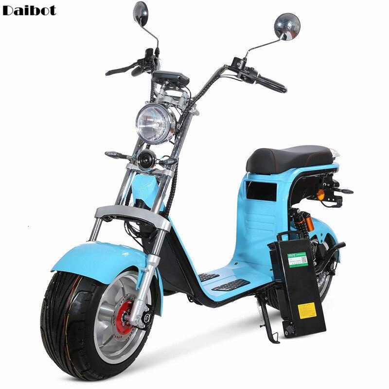 SEALUP moto électrique pour adulte 2 roues Harley Scooters électriques gros pneus 1000W 60V bleu Citycoco Scooter électrique