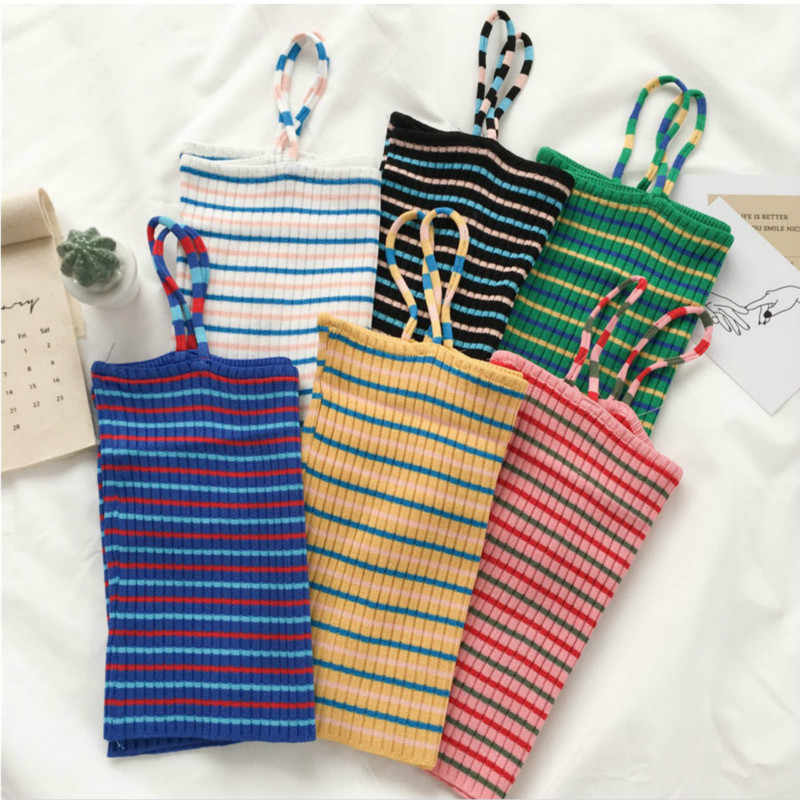 Rainbow Striped Crop Tops Women Knitted Vest Fashion Colorful Sleeveless Hot Sell Summer Slim Short Design Camisole Tank Top