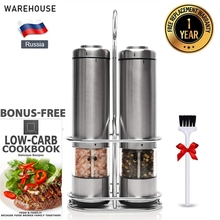 New Electric Salt and Pepper Grinder Set with Metal Stand Automatic Stainless Steel Pepper Mill LED Light Spice Mill for Kitchen