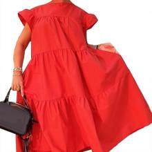 Mulheres Vestidos Casuais Cor Sólida O Pescoço Babados Manga Curta платье Grande Hem A Linha Midi Vestido Solto Mulheres Verão Vestido