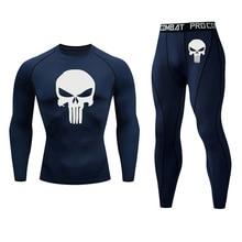 Menswear Skull Underwear rashgarda mma long sleeves Compression tights Quick-dry