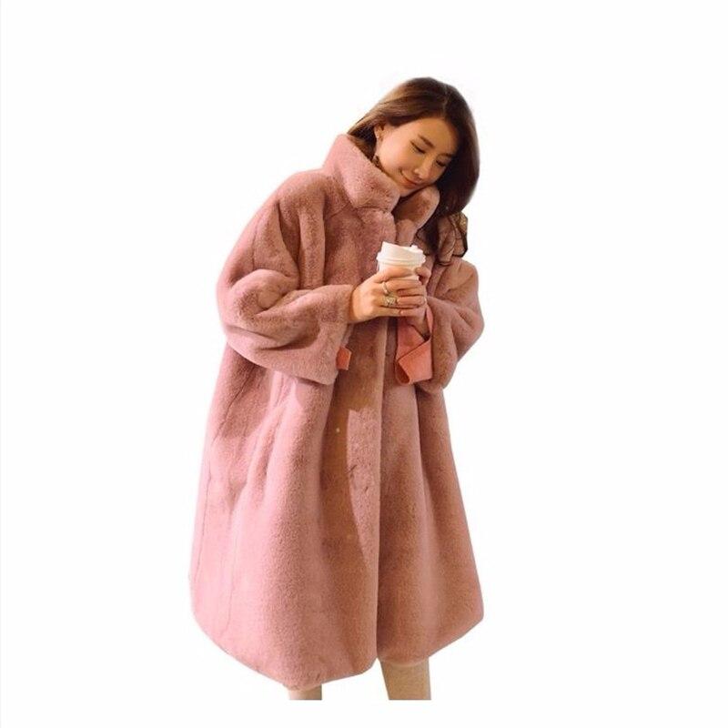 2019 New Pink Shaggy Women Faux Fur Coat Streetwear Autumn Winter Warm Plush Teddy Coat Female Plus Size Overcoat Party T588