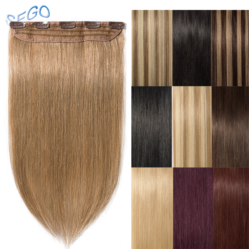 SEGO Hair-Clip Human-Hair-Extension Pure-And-Piano-Color Full-Head Straight 1p 8--24-40g-60g