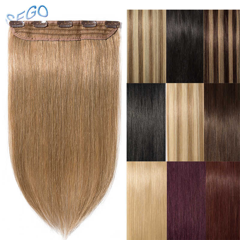 "SEGO 8""-24"" 40g-60g Straight Clip in Human Hair Extension Non-Remy 100% Human Hair Extensions 1p/w 5 Clips Color 60"