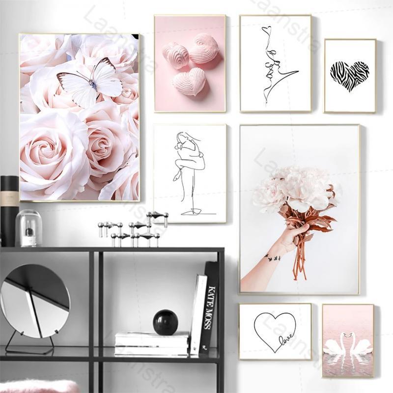 Домашний декор, постеры в скандинавском стиле, HD принты, розовая Картина на холсте, роза, бабочка, цветок, лебедь, женщина, любовь, линия, иску...