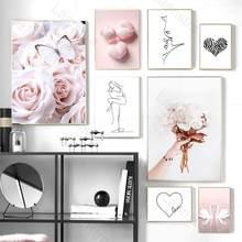 Decoração da casa nórdico posters hd imprime rosa pintura em tela borboleta flor cisne mulher amor linha arte imagem da parede sala de estar