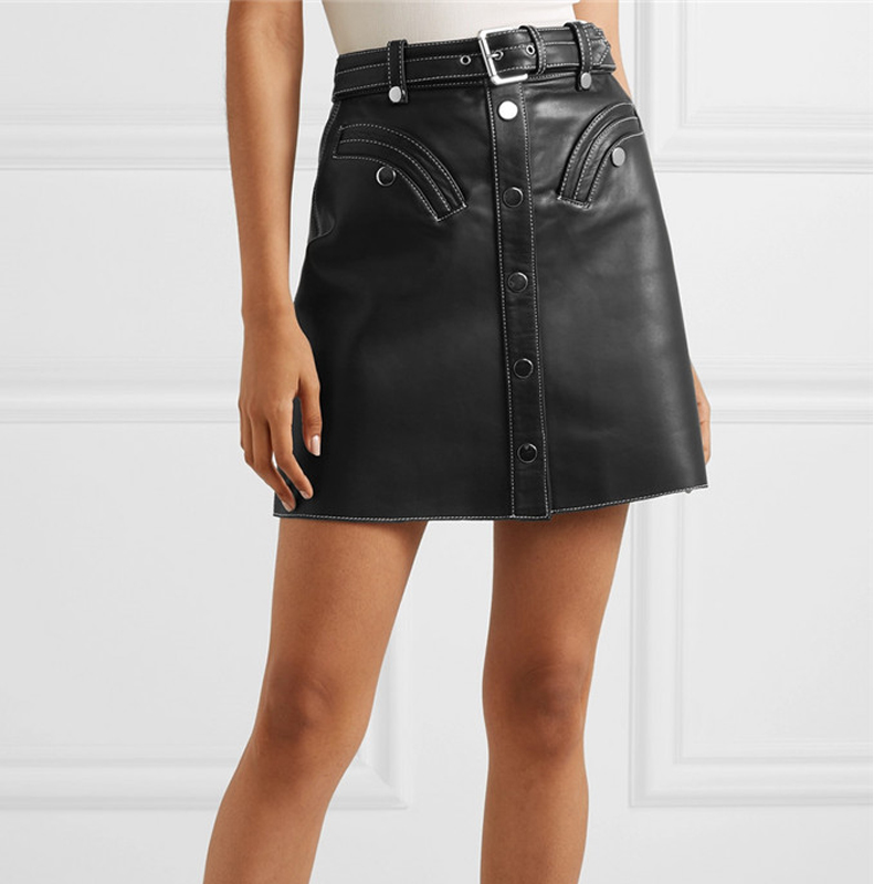 AEL PU Leather Women Skirt High Waist A Line Lace Up Buttons With Belt Casual Short Wrap Skirt 2020 Spring New Fashion Tide image