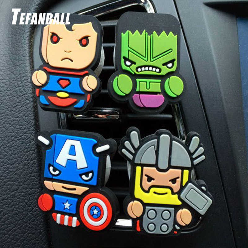 Mobil Kartun Penyegar Udara Mobil Parfum Vent Klip Deadpool Marvel Avengers Style Auto Solid Fragrance AC Air Conditioner