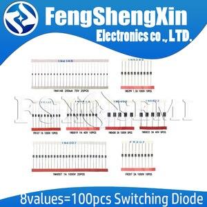 8values=100pcs Electronic Components Package Diode Assorted Kit 1N4148 1N4007 1N5819 1N5399 1N5408 1N5822 FR107 FR207 New