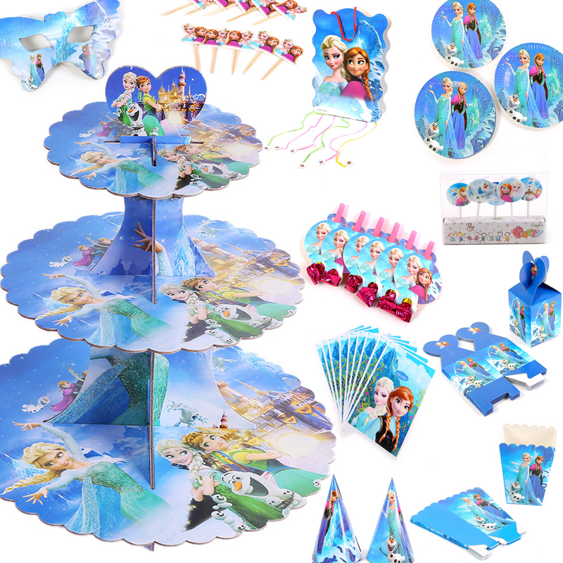 Disney prinzessin Gefrorene Anna Elsa Anime Thema kinder Geburtstag Party Dekorationen Einweg Party Geschirr Liefert Set 2A06