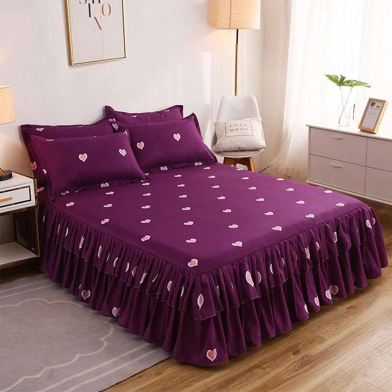 Drap de lit + 2 oreillers, couvre-lit épais, jupe de lit, pour un lit simple, motif de fleur