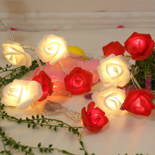 USB or Battery Rose Type Powered String LED Light Strip Lamp Lawn Romantic Wedding Holiday lighting Christmas Party Decoration cheap BRIDAY floral Atmosphere LED Bulbs Switch Plastic Night Lights 0-5W 110V