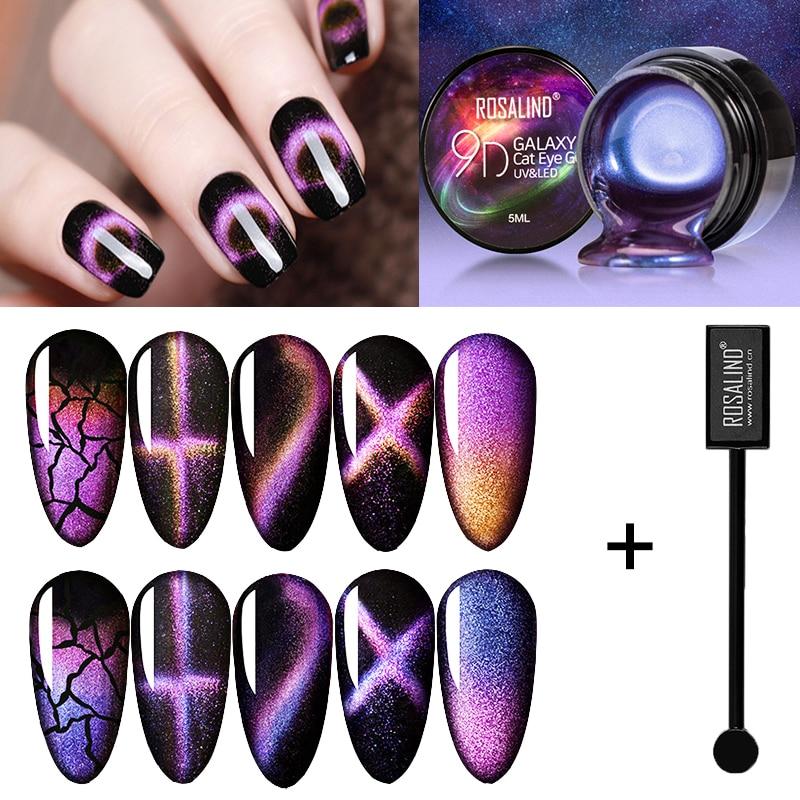ROSALIND Magnetic Gel Polish 9D Cat Eye Magnet Nail Gel UV LED Set For Manicure Base Top For Nails Gel Lacquers Hybrid Varnishes