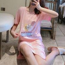 2020 Summer Night Dress Women Plus Size Nightgown Elastic Slim Cute Cartoon Print Sleepshirts Short Sleeve Nightie Nightdress plus bear print flounce sleeve striped night dress