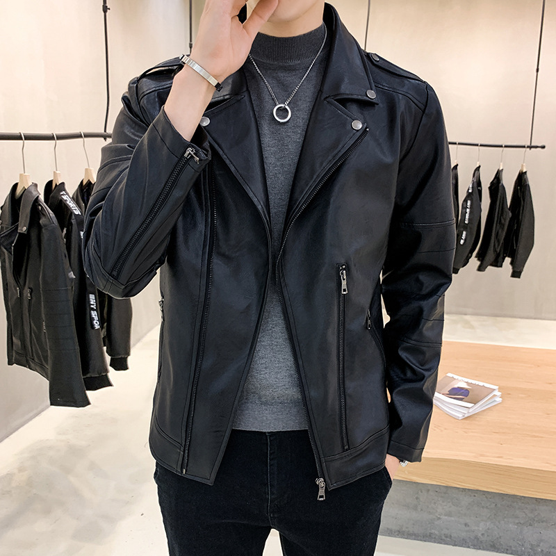 2019 Autumn And Winter New Style MEN'S Leather Coat Fold-down Collar Leather Coat Men'S Wear Leather Jacket Mid-length Genuine L