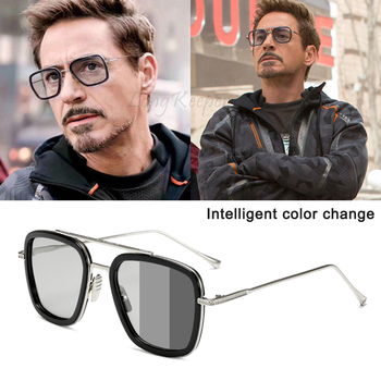 Men Sunglasses Photochromic Polarized Sun Glasses Tony Stark Iron Man Punk Eyewear Retro Pilot Driving Goggles Chameleon