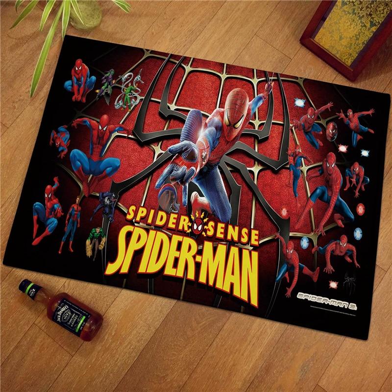 60x40cm Disney Spiderman Children Kids Floor Mats  Print Bathroom Kitchen Carpets Children Doormats For Living Room Kids Rugs