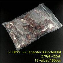 2000V 270pf ~ 22nf CBB metal film kondansatörler çeşitler kiti 18 değerleri 180 adet