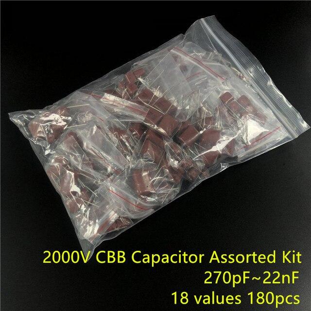 2000V 270pf ~ 22nf CBB metalowe kondensatory foliowe zestaw asortymentowy 18 wartości 180 sztuk