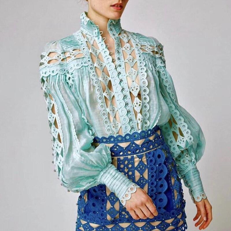 Patchwork dentelle perles Sexy pure Blouse femmes chemise lanterne à manches longues Stand cou hauts femme automne mode coréenne