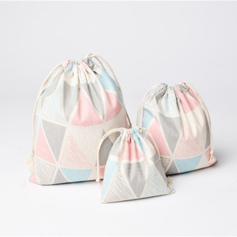3pcs Cotton Linen Cosmetic Bag Storage Package Bag Drawstring Bag Jewelry Organizer Kitchen Food Packing Bags Organizer Cover