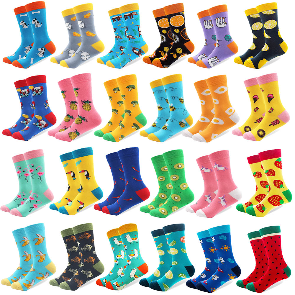 20 Pairs/lot Wholesale Creative Men's Colorful Fruit Cartoon Combed Cotton Happy Socks Crew Wedding Gift Casual Crazy Funny Sock