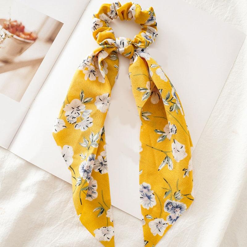 Bohème grande fleur chouchous longs banderoles arc cheveux écharpe femmes filles doux cheveux corde cravates mode cheveux accessoires chapeaux 10
