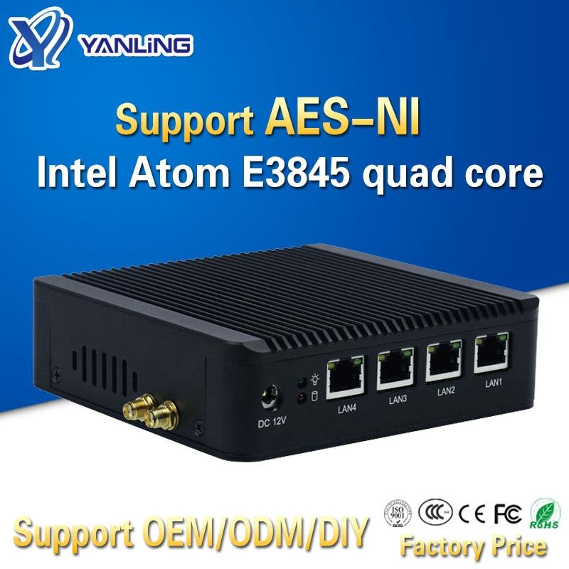 Yanling 4 Lan Pfsense Minipc Intel Atom E3845 Quad Core Mini Itx Motherboard Linux Firewall Computer Host Machine Support AES-NI