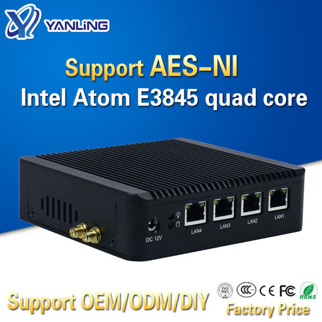 Yanling 4 Lan pfsense minipc Intel atom E3845 quad לוח האם לינוקס חומת אש מחשב מארח מכונה תמיכה AES NI